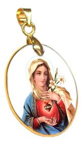 Pingente Em Porcelana Sagrado Coração De Maria Borda Em Ouro