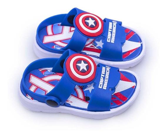 Sandalia Azul Marvel Capitan America Niñas Niños Atomik Goma