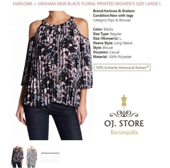 Liquidación Blusa Negra Floral Harlowe + Graham Talla L