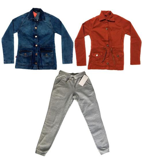 Roupa De Criança Fem Parka Jeans + Parka Sarja + Calça Slim