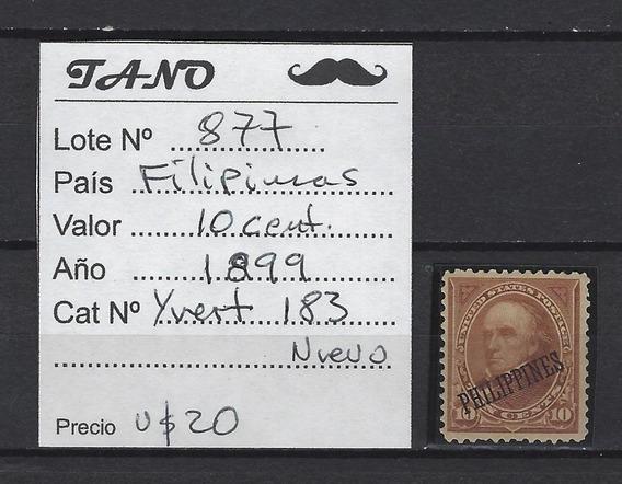 Lote877 Filipinas 10 Cent. Año 1899 Yvert# 183 Nuevo