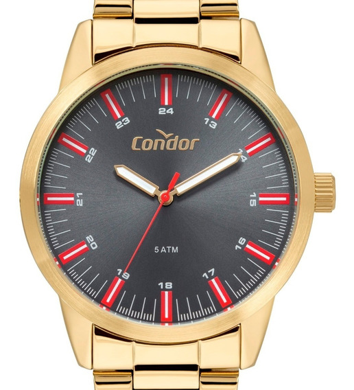 Relógio Condor Masculino Dourado Original Luxo Prova D