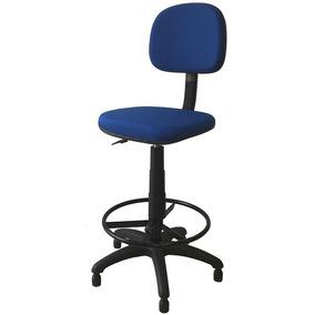 Cadeira Caixa Alta Secretária Estofada Tecido Azul