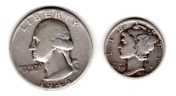 Bkz / Estados Unidos - Quarter 1945 + Dime 1936 Plata 900