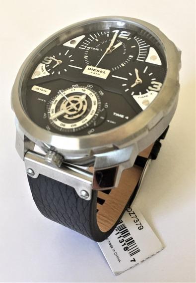 Relógio Mascul Diesel Aço Prata Pulseira Couro Preta Dz7379