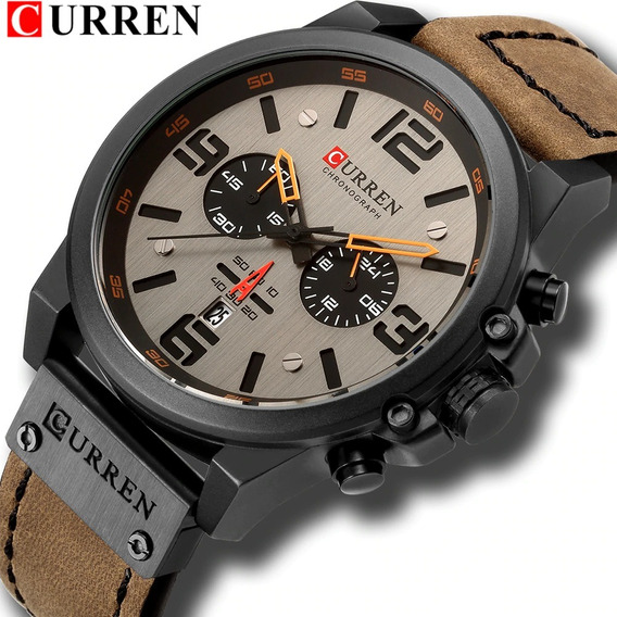 Relógio Curren 8314 Original Cronógrafo Funcional De Couro