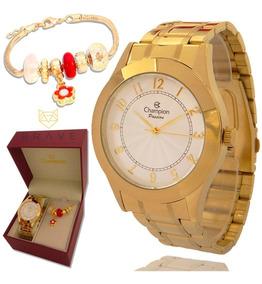Relógio Feminino Champion Dourado Ouro + Pulseira Berloque