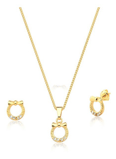 Conjunto Laminado En Oro Collar Y Aros -joyas Mujer Regalo