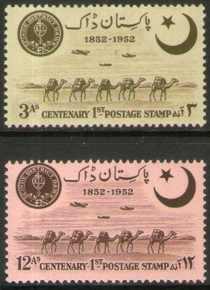 Pakistán Serie 2 Sellos Nuevos Caravana De Camellos Año 1952