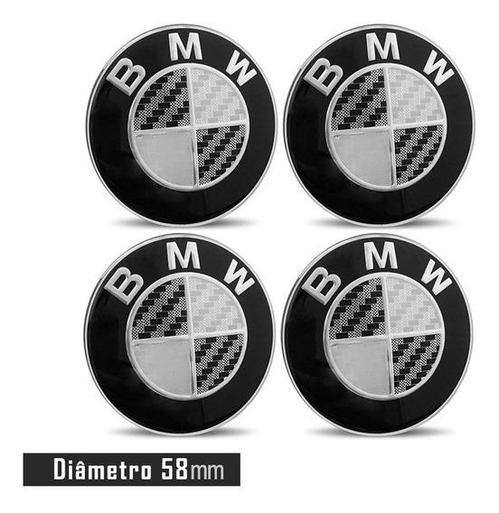 Jogo 4 Emblema Logo Adesivo Roda Bmw 58mm Preto