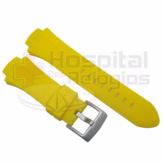 Pulseira Orient Mbttc003 Seatech Amarelo Original Borracha