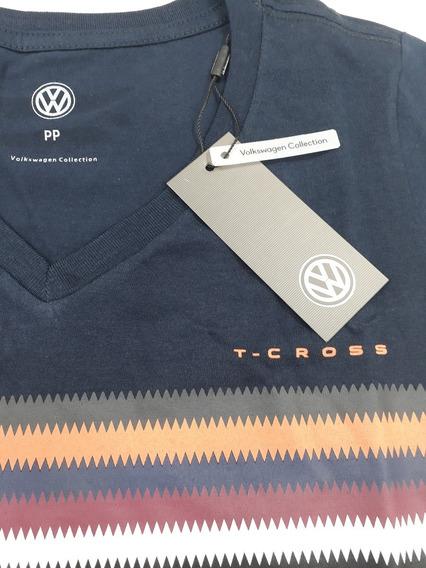 Camiseta Launch Feminina T-cross Vw Azul Marinho Pp P