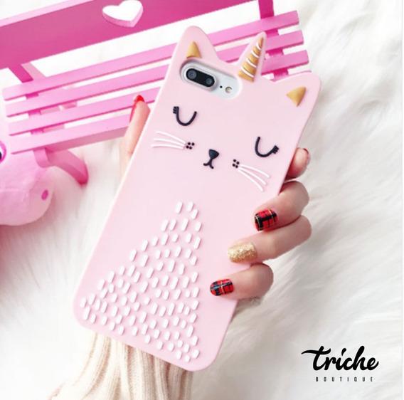 Funda Botarga Diseño Gato Unicornio Rosa iPhone 6 iPhone 6s