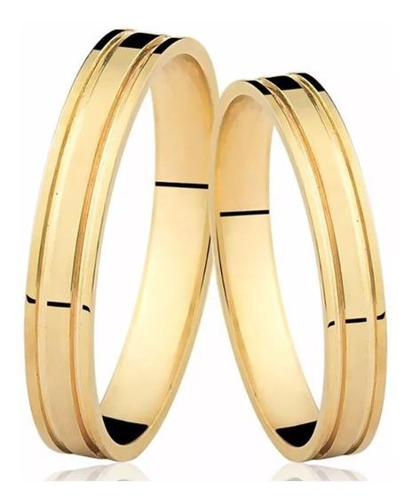 Par Alianças Ouro 18k 750 Anatômica 3mm 5gr Canais Casamento