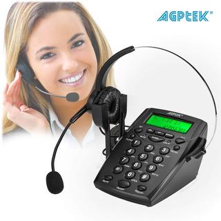 Diadema Con Telefono Para Call Center Agptek Negro Msi