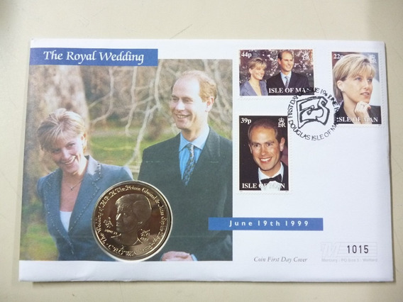 Isla De Man Blister Moneda Boda Real Principe Edward 1999