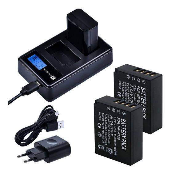 Carregador Duplo +2x Bateria W126 Fuji X-t3 X-t2 X-t1 X-pro2