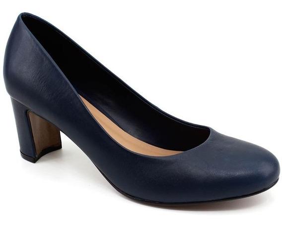 Sapato Scarpin Jse 003 Couro Azul Marinho Loja Pixolé