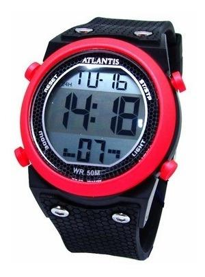 Relogio Esportivo Digital Atlantis G7455 Detalhes Vermelho