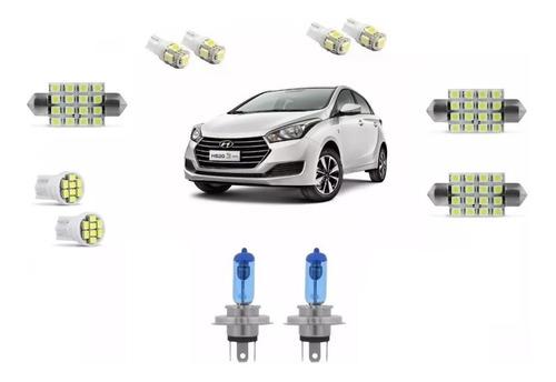 Imagem 1 de 5 de Kit Lampada Super Branca Farol + Leds Hyundai Hb20
