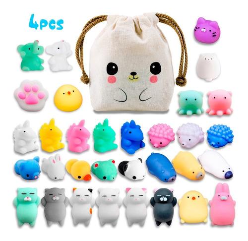 4 Squishy Mochi Animals Toys Random C/ Bolsita Kawaii