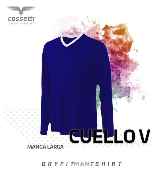 Playera Cuello V Cossetti Manga Larga Dry Fit Tallas Extras