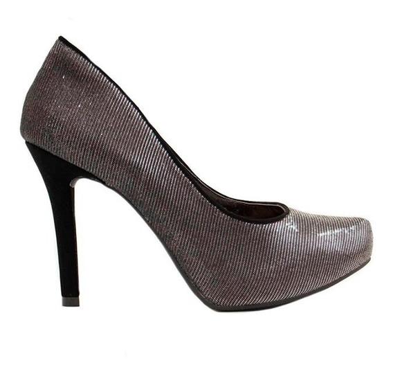 Zapatos Stilletos Mujer Plataforma Interna Tela Raso Negro Plata Taco 10cm