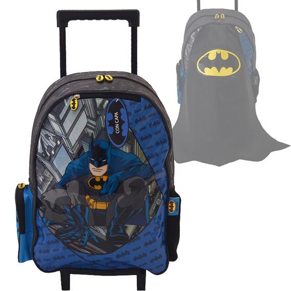 Mochila Batman Capa Primaria 42cm Carro Ruedas Original 17