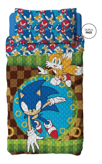 Sonic Cobre Leito Colcha Solteiro Dupla Face E Fronha Lepper