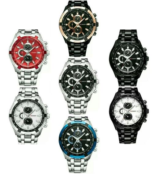 Relógio Curren Masculino Original Promoção Luxo Inox Barato