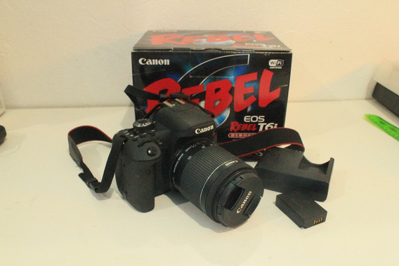 Camera Canon Eos Rebel T6i Dslr Ef-s 18-55mm (novo)