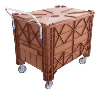 Caixa Caçamba Contentor Contêiner Plastica 370 Litros Tampa