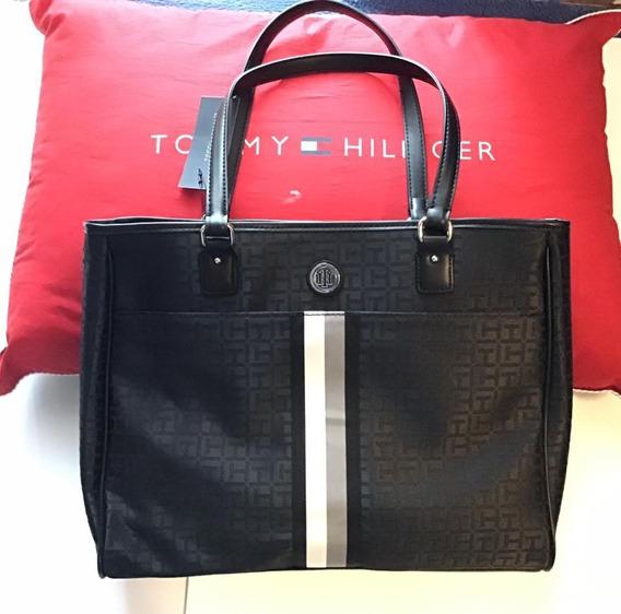 Tommy Hilfiger Elegante Bolsa Tote Negra Con Las Th