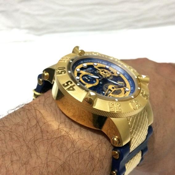 Relogio Invicta Noma 3 Subaqua Azul Masculino Dourado Top