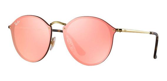 Óculos De Sol Ray Ban Rb3574n 001/e4 Blaze Round Rosa Espelhado