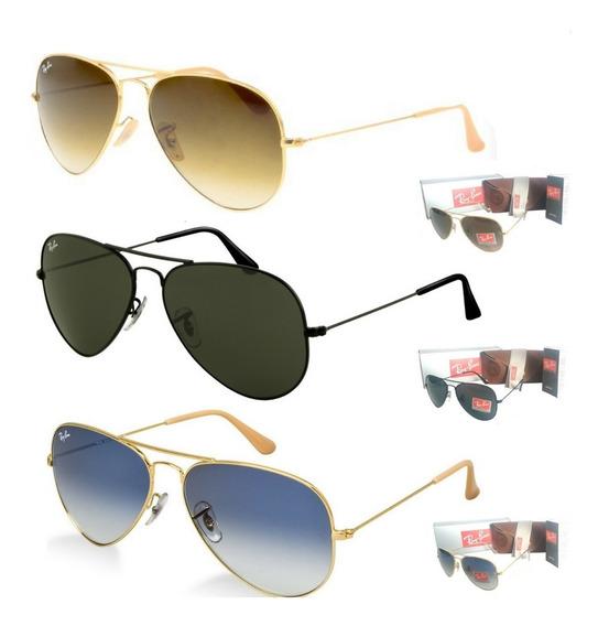 Kit 3 Óculos De Sol Aviador Lente Cristal Unissex Promoção