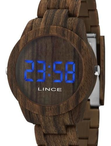 Relógio Unissex Lince Led Madeira Ref. Mdp4616p-dxnx