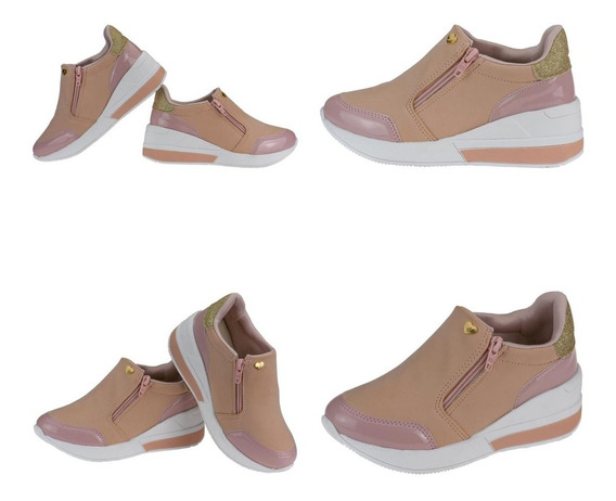 Tênis Feminino Sneaker Infantil Zíper Confort Flatform Leve