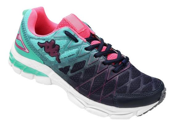 Tênis Running Corrida Kappa -impact Feminino Marinho E Verde