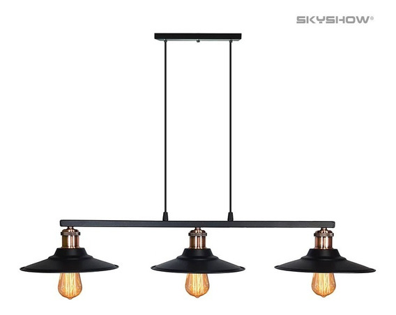 Pendente Nordic Preto Com Cobre Industrial + 3 Lampadas Led Retro Vintage Na Barra
