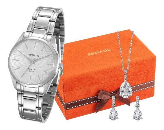 Relógio Seculus Feminino + Colar E Brincos 20396l0skna2k2