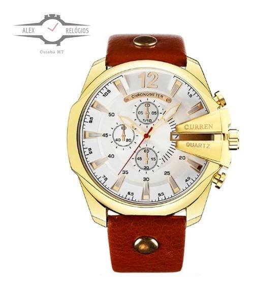 Relógio Masculino Curren 8176 Original Barato Ostentação