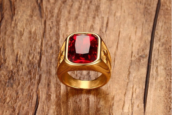 Anel Masculino Templário Pedra Vermelha - Frete Grátis