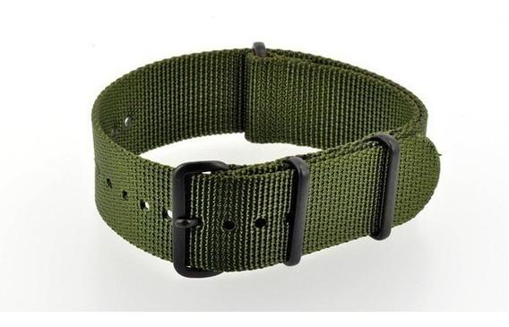 Pulseira Nylon Nato Premium Verde Militar 22 Mm Pvd