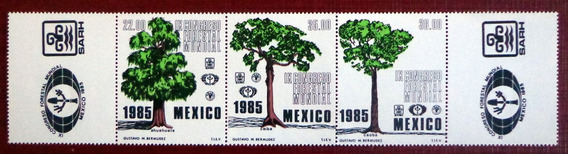 México, Tira Horizontal Sc. 1392a Árboles 1985 Mint L7551