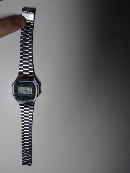 Relógio Casio Prata A168we Camuflado