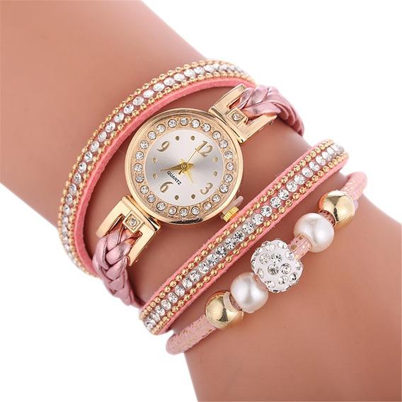 Relógio Pulseira De Couro Com Strass Vintage Feminino
