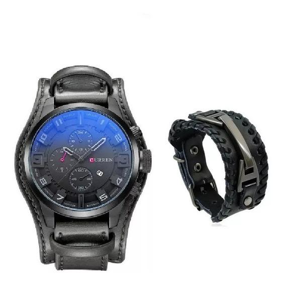 Relógio Curren Bracelete Masculino + Pulseira Brinde
