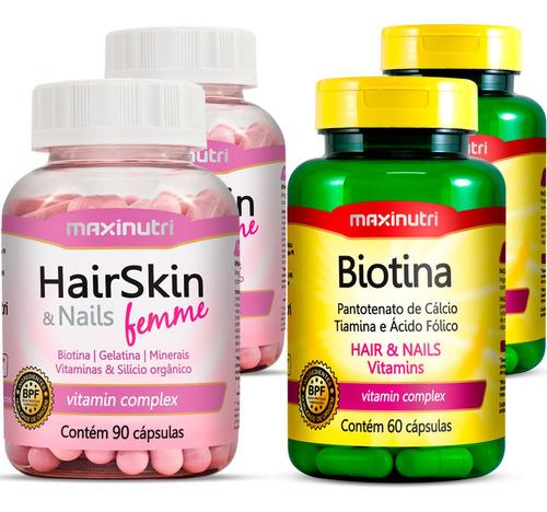 Imagem 1 de 5 de Combo 2 Hair Skin & Nails (cápsula Da Beleza) + 2 Biotina