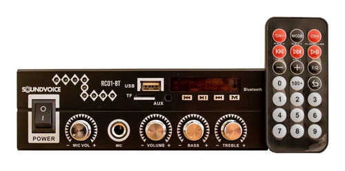 Receiver Amplificador Compacto Bluetooth Usb Soundvoice Rc01